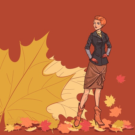 30768281 - going slender young beautiful lady with short red hair in full length. girl is dressed in autumn clothes - dress, jacket,skirt, boots. background with autumn leaves. color vector.